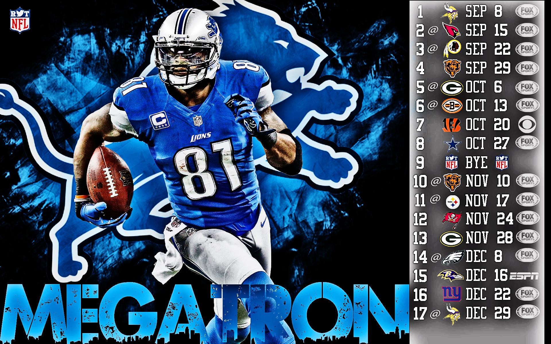 Calvin Johnson – 2013 Lions Schedule Wallpaper | HDR Sports